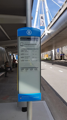 One of the Sydney Airport e-paper bus displays