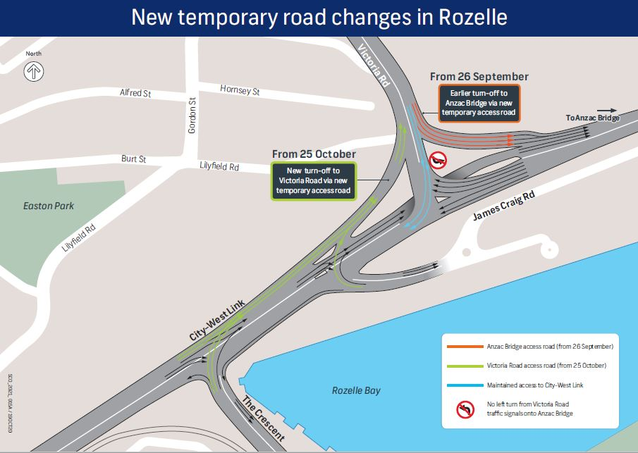New temporary road changes Rozelle